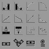 Graph and money icons on gray background Royalty Free Stock Images