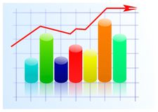 Graph. Multicolored graph on a light background Stock Photo