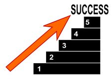Graph with numbers, arrows and lettering success Stock Photo