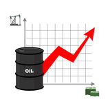 Graph of oil and dollars. Barrel with oil and bundles of cash. D. Ependence of amount of oil from sale. Barrel of oil. Oil reserves. Red arrow is growing up stock illustration