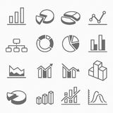 Graph outline stroke symbol icons Stock Photos
