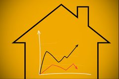 graph over house graphic Royalty Free Stock Images