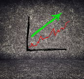 Graph painted on abstract concrete background Royalty Free Stock Photography