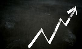 Graph painted on blackboard Concept royalty free stock image