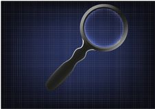 Magnifier on blue paper. Graph paper on a blue background and a magnifier Stock Photography