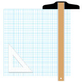 Graph Paper Drafting Tools stock illustration