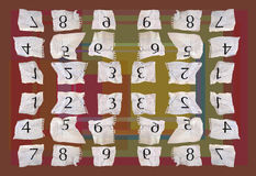 Graph paper numbers. Numbers printed on graph paper, photographed and put into sequence then turned into interesting pattern stock illustration