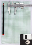 Graph paper with pencil Stock Photo