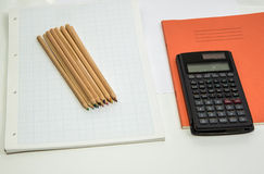 Graph paper and pencils Stock Photos
