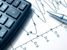 Graph, pen and calculator (blue) Stock Image