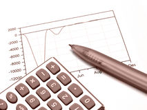 Graph, pen and calculator (red). Graph, pen and calculator, photo about analysis (red Stock Photo