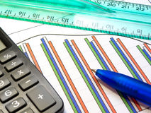 Graph, pen, ruler and calculator Royalty Free Stock Photo