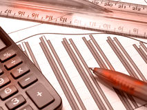 Graph, pen, ruler and calculator (red) Stock Photo