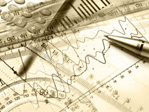 Graph, pen, rulers and calculator Stock Photo