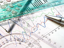 Graph, pen, rulers and calculator Royalty Free Stock Image