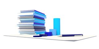 Graph, pen, Stacks of books Stock Photography