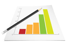 Graph with pencil. Vector illustration Stock Photo