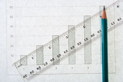 Graph pencil line scale Royalty Free Stock Images