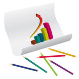 The graph and pencils Royalty Free Stock Image