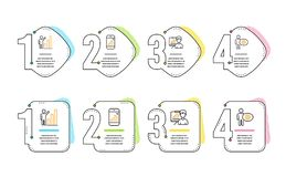 Graph phone, Presentation board and Graph chart icons set. Cogwheel sign. Vector. Graph phone, Presentation board and Graph chart icons simple set. Cogwheel sign stock illustration