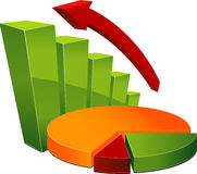 Graph and pie chart Royalty Free Stock Image