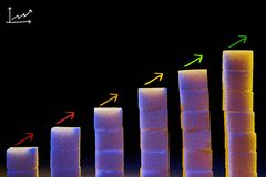 Graph of pieces of sugar with arrows drawn royalty free stock photo