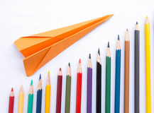 Graph and plane up Royalty Free Stock Images