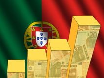 Graph with Portuguese flag Stock Images