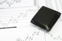 Graph and pouch. Pouch and graph, white, black Royalty Free Stock Image