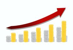 Graph of precious metals Royalty Free Stock Photography