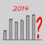 Graph previous years 2014 question. Graph of business success question of the 2014 the scheme Stock Images