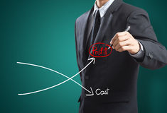 Graph of profit compare with cost. Business man drawing graph of profit compare with cost Royalty Free Stock Image