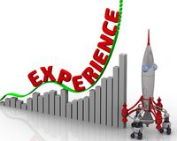 The graph of experience growth. Graph of rapid growth with red word EXPERIENCE and rocket. 3D Illustration royalty free illustration