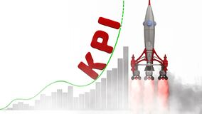The graph of KPI Key Performance Indicator growth. Graph of rapid growth with word KPI Key Performance Indicator and rocket launch. Footage video royalty free illustration