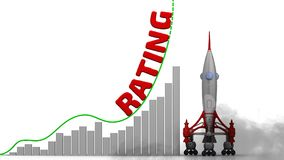 The graph of rating growth. Graph of rapid growth with word RATING and rocket launch. Footage video royalty free illustration