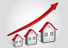 Graph of real Estate. Abstract illustration with arrows and houses Royalty Free Stock Photo