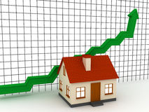 Graph of realty. House market Moving Up. 3D render Royalty Free Stock Photo