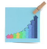 Graph    recycled paper stick Stock Photos