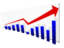 Graph with red arrow Stock Photo