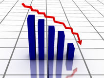 Graph with red arrow. 3D falling graph with red arrow Royalty Free Stock Images