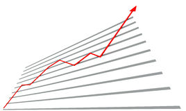 Graph with red arrow up Royalty Free Stock Images