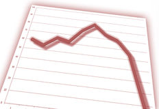 Graph. Red graph on business chart (down stock illustration