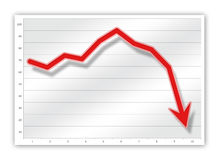 Graph. Red graph on business chart (down vector illustration