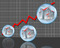 Graph in red and homes. Illustration of homes in increasing sizes along side a steeply rising erratic red line on a graph with a gray background of small equal Royalty Free Stock Photo