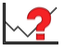 Graph with Red Question Mark. Black shiny graph with red question mark stock illustration