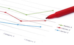 Graph with red sign pen Royalty Free Stock Photo