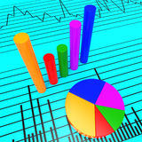 Graph Report Shows Infochart Document And Investment Royalty Free Stock Images