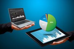 Graph report on tablet and laptop Royalty Free Stock Image