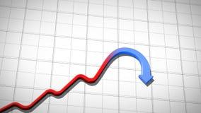 Graph resningen och att falla på tegelplattabakgrund och att stiga röda fallande blått, HD royaltyfri illustrationer