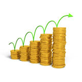 Graph rising. With coins bars, 3d illustration Stock Photo